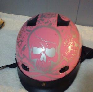 Pink skull motorcycle helmet